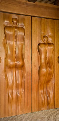 Victor Klassen sculpted wooden doors This stunningly creative collection was born 25 years ago in Mexico and has recently made its debut in North America. The artist's influences – especially Gaudi – are very prevalent in all his work. Nature and the human form are revered and used abundantly to great effect.