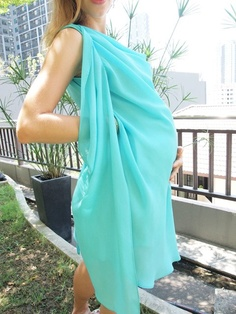 Draped Grecian Goddess Maternity Dress in Sea Green Georgette for Moms to Be, Pregnant Mothers