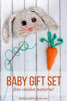 This free crochet bunny hat pattern makes a darling DIY Easter gift for your favorite baby or toddler. Sizes newborn, 3-6 months, 6-12 months, toddler/preschooler. Pair with our free crochet carrot baby toy pattern for a perfect DIY baby shower gift idea. Click for free patterns.