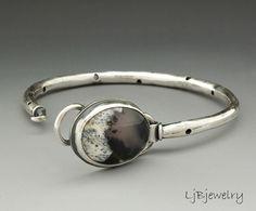 Silver Bracelet Dendritic Opal Stone Bracelet by LjBjewelry