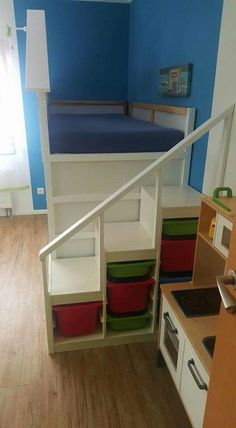 New baby room ideas for boys ikea kura bed ideas Ikea Trofast Regal, Trofast Ikea, Murphy-bett Ikea, Ikea Kura Bed, Ikea Malm, Ikea Kura Hack, Desks Ikea, Bed Stairs, Bunk Beds With Stairs