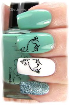 Nail Art by Belegwen: Gina Tricot Green mint & White, Depend Jade Vine