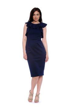 Rochie bleumarin de seara fara maneci  AM-60106 -  Ama Fashion