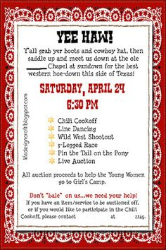 Life.Design. and the Pursuit of Craftiness: YW Fundraiser & Ward Western Night