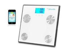 Pyle - Bluetooth Digital Weight and Personal Health Scale with Wireless iPhone, Android, Smartphone Data Transfer and Pyle Health App Fitness Tracker (White), Black