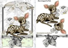 CUTE LITTLE DEER IN SILVER LACE FRAME on Craftsuprint designed by Nick Bowley - CUTE LITTLE DEER IN SILVER LACE FRAME, Just add some sparkle to make a pretty card - Now available for download!