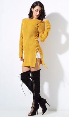 Long sleeve high neck double side slit oversize lace up ribbed pattern long sweater. Could be worn as a sweater dress as shown on model in the pictures. Details Polyester, Cotton Knitted Imported Delicate, Cold Wash Fits True To Size Outfit Invierno, Sweater Boots, Arwen, Long Sweaters, Lace Up, Style Inspiration, My Style, Long Sleeve, Model