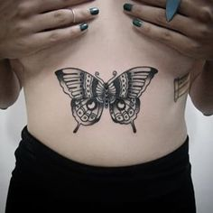 A butterfly on your stomach. | 49 Bloody Brilliant Black And Grey Tattoo Ideas