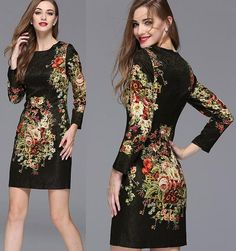 Top Quality New Fashion Dress 2015 Autumn Women Black Vintage Floral Print Three Quarter Sleeve O Neck Casual Brand Elegant Dress Party Xxl Black Dresses For Women Halter Dresses From Agloryfashion, $51.35| Dhgate.Com