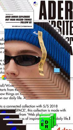 studio japonais : 1guu pour la marque de vêtements : Adererror (système de strates, d'onglets) Graphic Design Posters, Graphic Design Typography, Graphic Design Inspiration, Template Brochure, Brochure Layout, Corporate Brochure, Brochure Design, Ft Tumblr, Photocollage