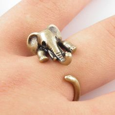 Gold Elephant Wrap Ring. WANT!