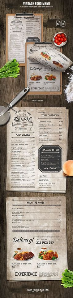 Vintage Food Menu — Photoshop PSD #bbq #menu templates • Download ➝ https://graphicriver.net/item/vintage-food-menu/20055763?ref=pxcr