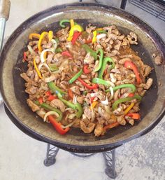 "Chicken Fajita ""discada"" made with Claude's Fajita marinade and recipe."