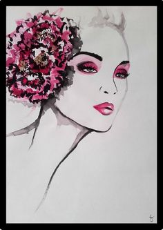 This illlustration of a Beauty wearing a pink flower, was painted with black ink and acrylic colors. Illustration Flower, Illustration Blume, Beauty Illustration, Metallica, Acrylic Colors, Margarita, Watercolors, Pink Flowers, Beautiful Flowers