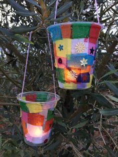 20 Magnificent DIY Kids Decoration Ideas for Crafty Souls mybabydoo Kids Lantern, Lantern Crafts, Lantern Diy, Vbs Crafts, Diy Crafts For Kids, Camping Crafts For Kids, Camping Theme Crafts, Plastic Cup Crafts, Tissue Paper Lanterns