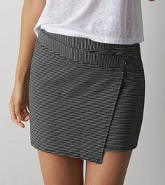 Black AEO Striped Wrap Mini Skirt