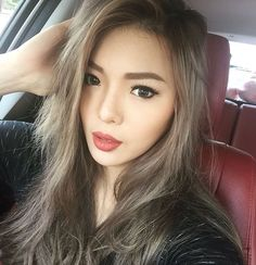 super ash brown - almost grey hair on Asian skin