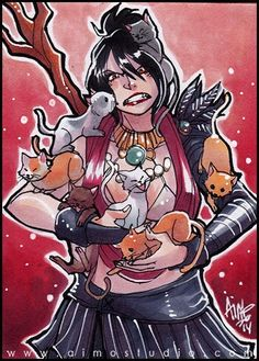Morrigan and cats http://momochanners.tumblr.com/tagged/art