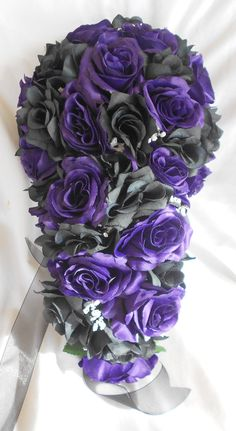 Items similar to Gothic Silk Wedding bridal bouquet black and Royal purple 2 pc Cascade style made of all roses on Etsy - Gothic Cascade bridal wedding bouquet Royal purple and black measuring approximate 10 wide and 15 i - Small Bridal Bouquets, Cascading Wedding Bouquets, Purple Wedding Bouquets, Cascade Bouquet, Flower Bouquet Wedding, Wedding Colors, Wedding Ideas, Wedding Stuff, Dream Wedding