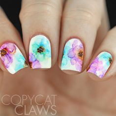 216 Copycat Claws: The Digit-al Dozen does Fashion - Floral Dress Color For Nails, Water Color Nails, Nail Swag, Cute Nails, Pretty Nails, Sharpie Nail Art, Water Nail Art, Marble Nails Tutorial, Unicorn Nails Designs