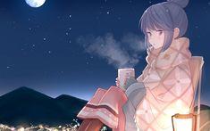 Download wallpapers Shima Rin, night, manga, Yuru Camp