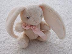 Baby Bunny Long Ears Vintage 90s Plush Toy Hare Kids by JirjiMirji, €10.70