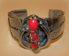 http://megasilver.pl/Bransoleta-p376 #Bracelet #metalwork #coral, #handmade #red #stone #jewelry #jewellery