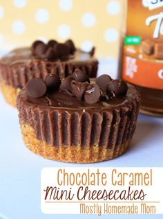Chocolate Caramel Mini Cheesecakes - these are GREAT for parties - don't forget the extra caramel drizzle!