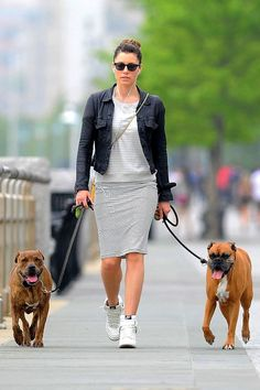 8ec6ccd059116a New York - Jessica Biel walked her dogs in an AllSaints vest dress and  T-shirt with a leather jacket and Nike high-top trainers