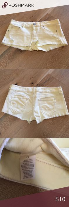 American eagle short shorts American Eagle short shorts. Shorts have been worn a handful of times but still great condition. They're size 8 but very short. Width is 17 inches and length is 8-9 inches American Eagle Outfitters Shorts Jean Shorts