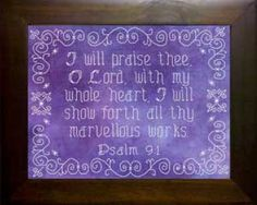I Will Praise Thee - Psalm Fabric Color Vinyard Cross Stitch Designs, Cross Stitch Patterns, Psalm 9, Hand Painted Fabric, Favorite Bible Verses, Faith Hope Love, Meaningful Gifts, Fabric Painting, Painted Rocks