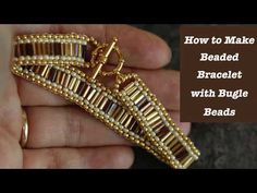 This tutorial shows you step-by-step how to bead bugle beads in two ways. You wi… This tutorial shows you step-by-step how to bead bugle beads in two ways. You will learn brick stitch and how to create geometric pattern using bugle beads. Beaded Bracelets Tutorial, Beaded Bracelet Patterns, Beading Patterns, Embroidery Bracelets, Art Patterns, Knitting Patterns, Mosaic Patterns, Loom Patterns, Bracelet Designs