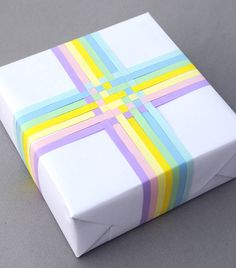 woven gift-wrap in pretty pastel colors