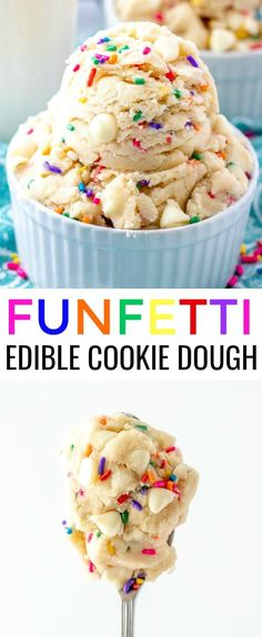 Have a sweet tooth? This quick and easy Funfetti Edible Cookie Dough makes the perfect snack any time of day, minimal ingredients and the kids love it. via snacks, Funfetti Edible Cookie Dough Cookie Dough Vegan, Edible Sugar Cookie Dough, Cookie Dough For One, Homemade Cookie Dough, Nutella Cookie, Edible Cookies, Cookie Dough Recipes, Homemade Cakes, Cookie Dough Cupcakes