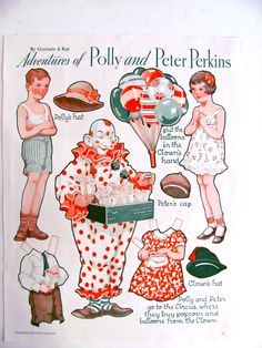 Polly and Peter Perkins Paper Dolls Circus Adventures 2 Pages Vintage