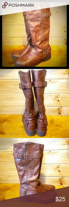 Brash Tall Rider Boots sz 9 Great condition. Minimal scratches. Adorable! brash Shoes Combat & Moto Boots