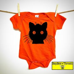Baby Clothes. Black cat. 7 colors. baby romper. by BayBeeThreadz