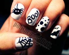 A close-up picture of a pretty cute Halloween nail art that you can use to design your nails, though it has no instructions on how it was done. Description from bestbuytoday.com. I searched for this on bing.com/images