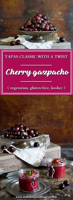 Cherries bring an unexpected twist to tapas classic gazpacho. Cherry gazpacho is a quick, easy and refreshing treat - perfect for lazy summer days!  * * *   tapas gluten-free kosher vegetarian quick and easy soup Spanish food food blog food photography