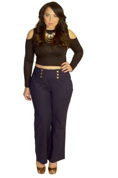 I like these pants (not with this top!). Ralph Lauren Gold Button High Waist Pants – Pop Up Plus