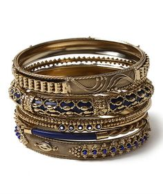 This Blue & Goldtone Belle Bangle Set is perfect! #zulilyfinds