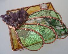 teinté de boîte à bijoux en verre « Améthyste MINI » cristaux d'améthyste, à la main versé et roulé verres, en verre pépite, vitraux,