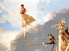 Misc Art Work by Michael Parks - ribbons, wall, doves, monkey, ballet, women, hoop, fire, rope, sky, flames, clouds