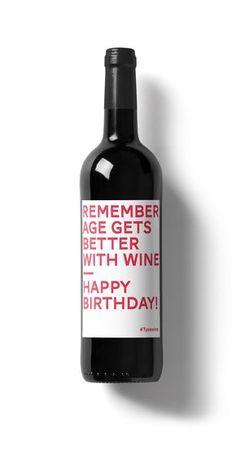 """€2.90 DIY – Wein Spruch """"Remember age gets better with wine – Happy Birthday"""" Das ultimative Geburtstagsgeschenk für Weinliebhaber ... Amüsantes Weinetikett von Typewine, typografisch schön in Szene gesetzt, das man einfach über das Etikett klebt und das Fläschchen Wein auf diese Weise in ein besonderes, ziemlich kultiges Geschenk verwandelt."""
