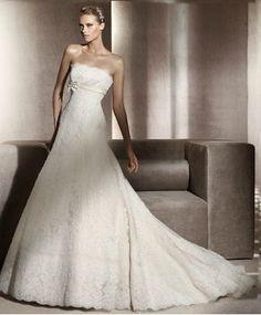 Chapel Train Lace Sleeveless A-line Ribbon Wedding Dress