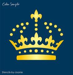 "Fleur Jewel Crown STENCIL 4"" Royal British decor Shabby French Chic craft signs #DesignsbyJoanie"