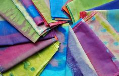 Handpainted Scarves w/watered down acrylic and filmy white fabric