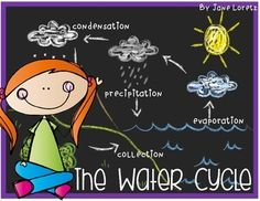 This has everything you need for a lesson on the water cycle.  This highlights key vocabulary your students need to know and they can make a fun water cycle necklace highlighting the vocabulary.