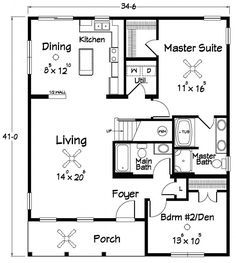 Floor Plans :: Southern Dream Home Builders - Custom Modular Homes - Jonesborough TN Small House Floor Plans, Barn House Plans, New House Plans, Cabin Plans, Cute Cottage, Coastal Cottage, Coastal Entryway, Cottage Plan, Coastal Farmhouse