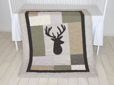 Deer Head Baby Blanket, Hunting Quilt Blanket, Brown, Cream, Beige and Green, Baby Patchwork Blanket, Antler Blanket  I love the themed childrens room, because they are extraordinary, restrained. A nice, thoughtful design can be in use for many years not just as a nursery, but with additional pieces year by year, for long term. For those, who like wild animals and wild life, here is my latest creation, a stags head quilted blanket with dark, earthy brown, green and grey colors, with a little…